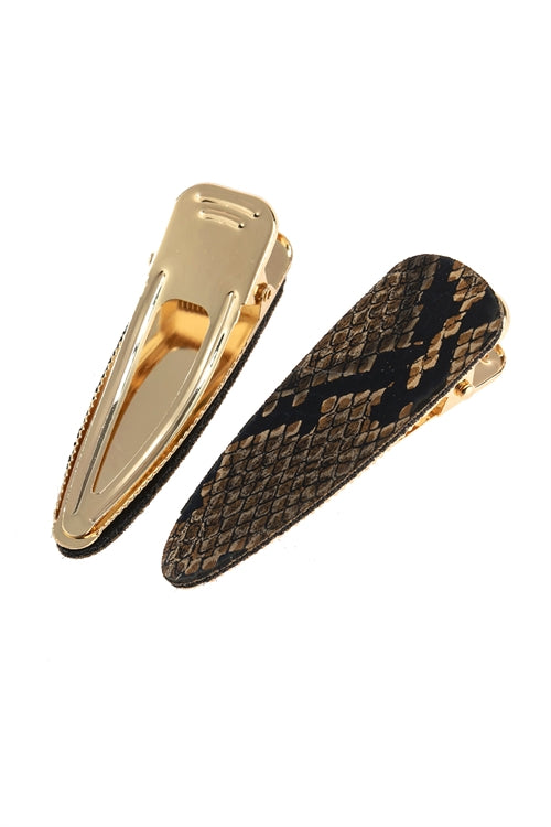 Brown Snakeskin Hair Clips