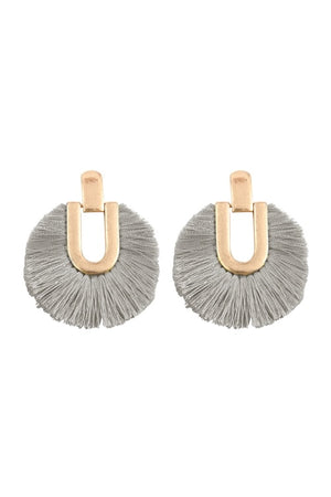 Matte Gold Grey Fringe Earrings