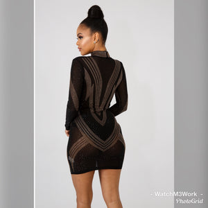 Chevron rhinestone Body-con Dress