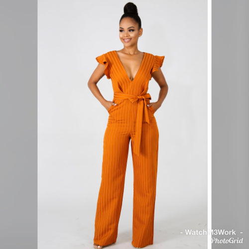 Striped orange jumpsuit