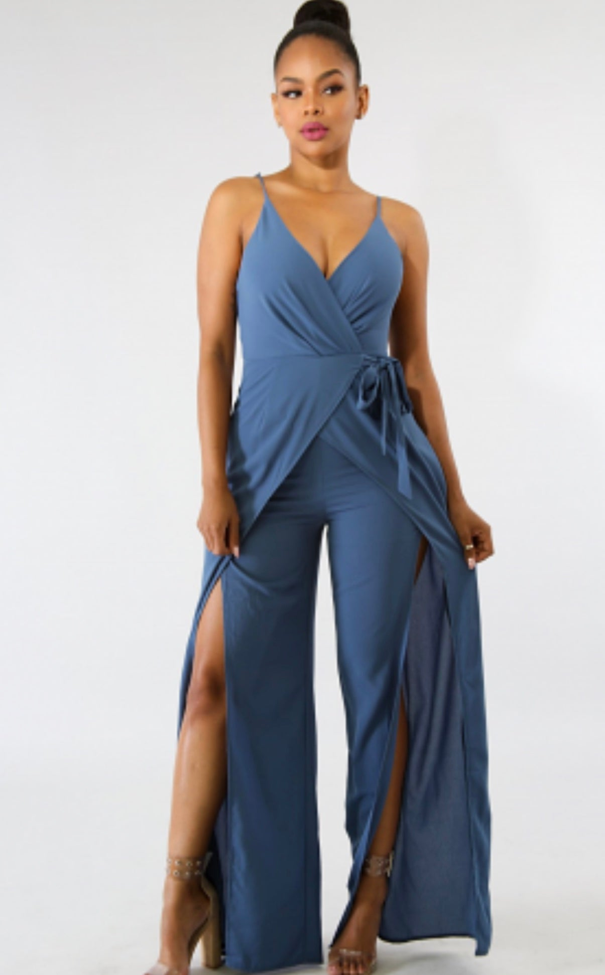 Idol Slit Jumpsuit  BLUE