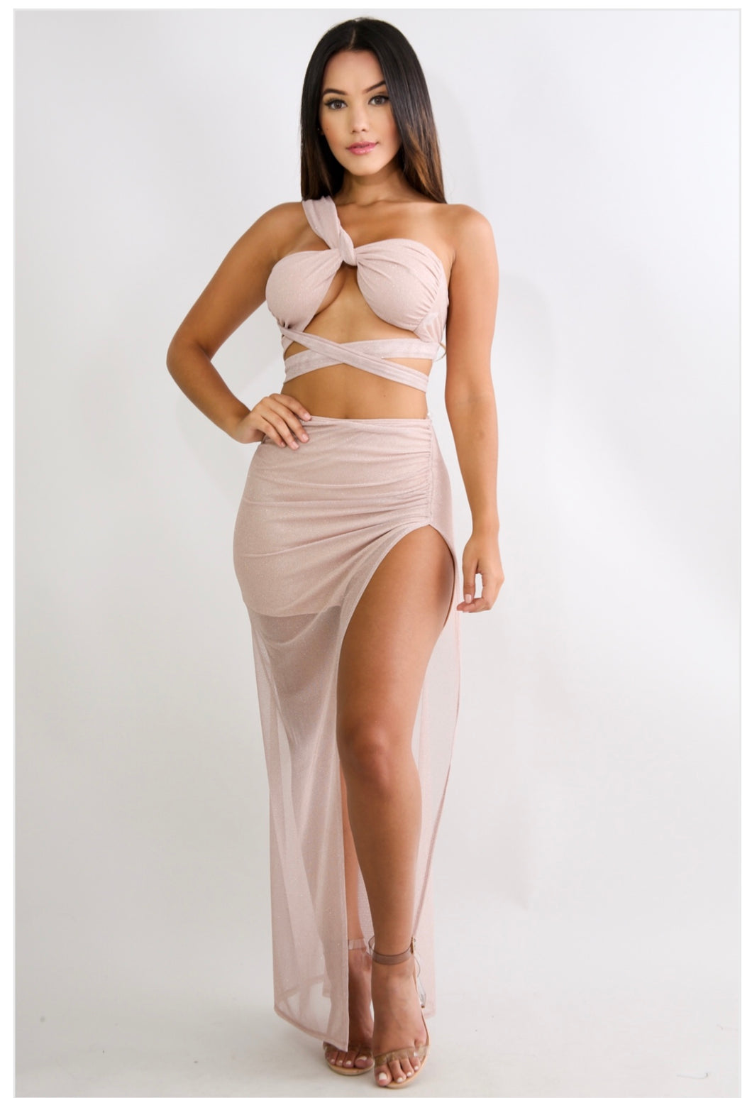 Sheer Slit Skirt Set  BLUSH