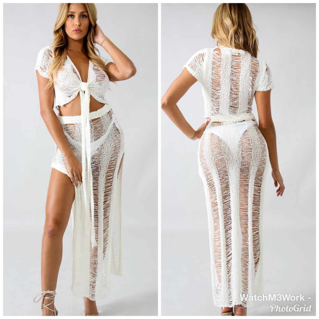 Knit Shreds Cover Up Set