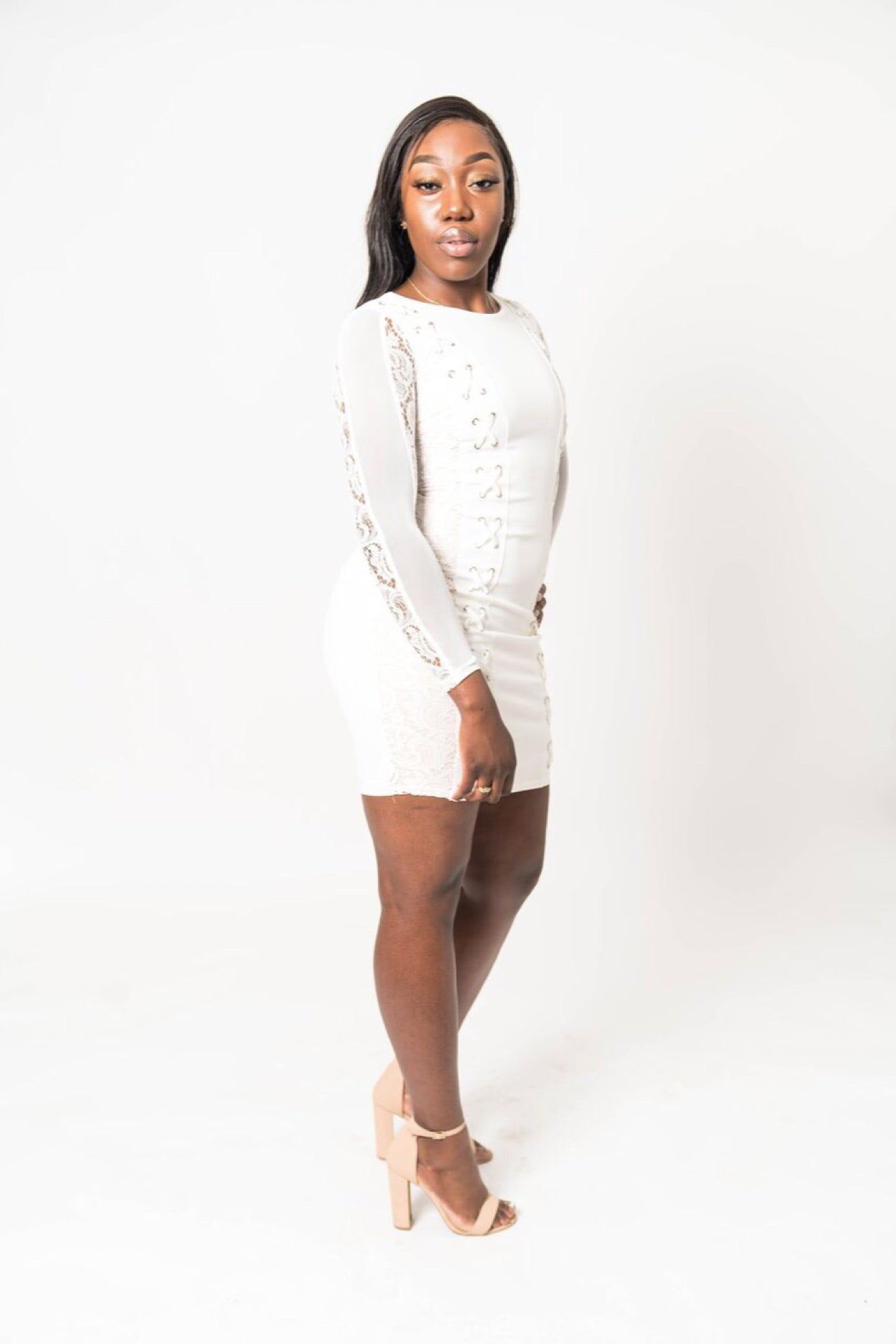 Long Sleeve Dress Lace Up Bodycon White