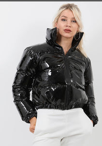 Leather Cropped Puffer Jackets