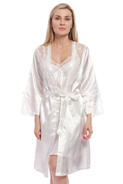 BEL0108 - Long Satin Robe Bridal Kimono Lace Pajamas