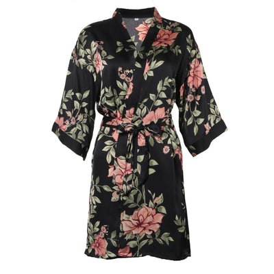 BEL0181- Satin Robe Silk Dressing Gown Floral Lace Pajamas