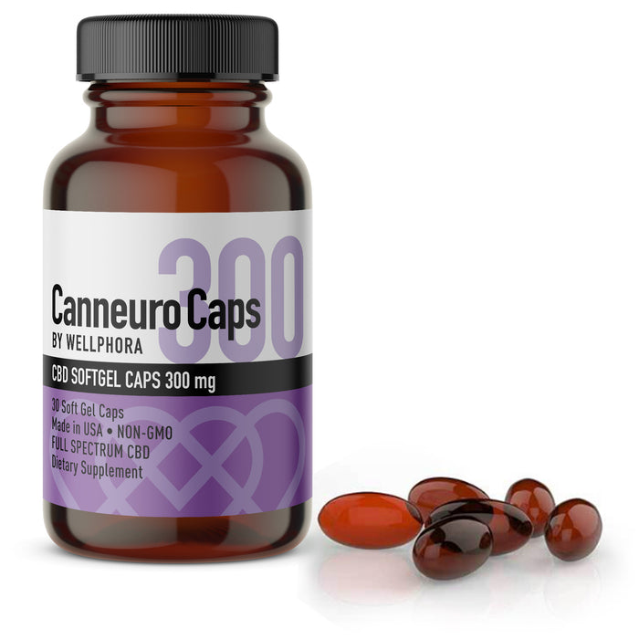 Canneuro Soft Gel Caps 300mg Full Spectrum  Hemp Extract Capsules - Wellphora
