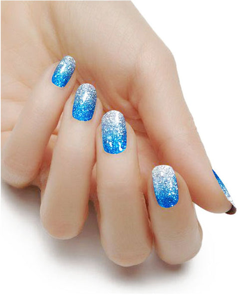 Blue Glitter Gradient Nail Polish Strips - Glitterati-The BEST Nail Polish Wraps, Nail Polish Stickers