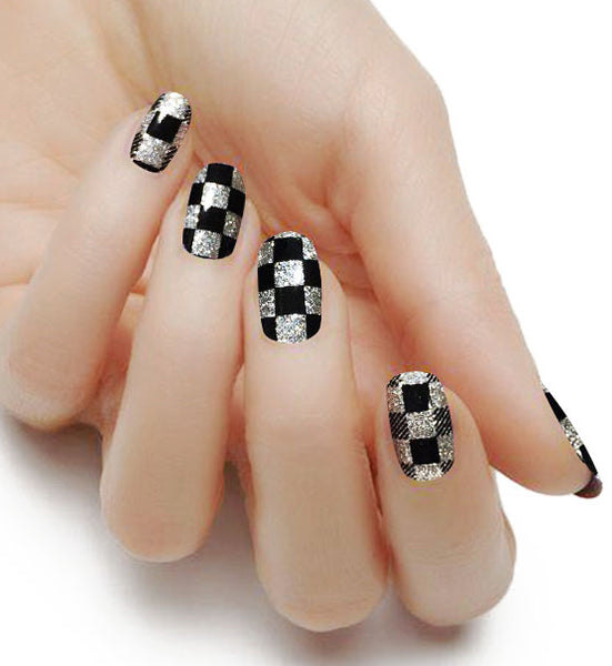 """Checkmate"" Glitter Nail Polish Strips - Glitterati-The BEST Nail Polish Wraps, Nail Polish Stickers"