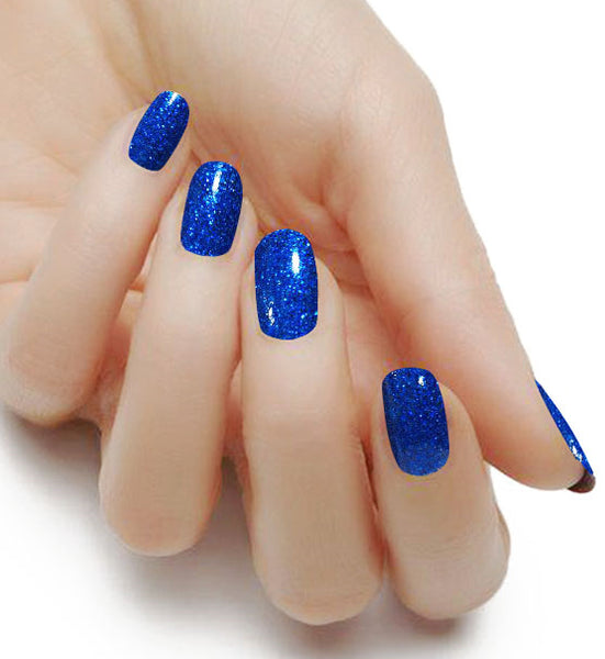"""Sapphire"" Solid Glitter Nail Polish Strips - Glitterati-The BEST Nail Polish Wraps, Nail Polish Stickers"