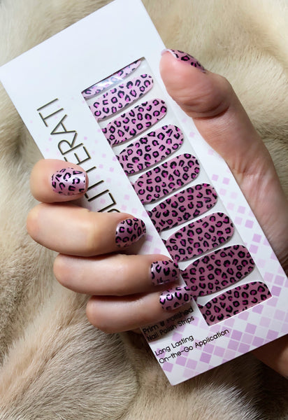 """Purrfect Pink"" Pink Leopard Patterned Nail Polish Strips - Glitterati"