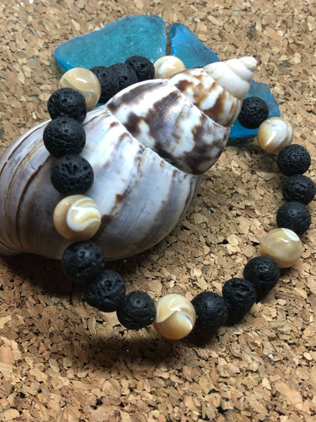 Lava Rock and Troca Ball Bracelet - Glitterati