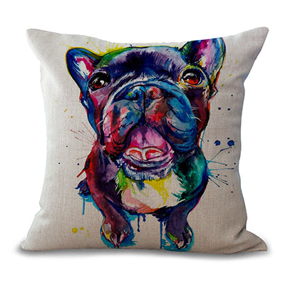 "Decorative Square 18"" French Bulldog Printed Cushion Cover"