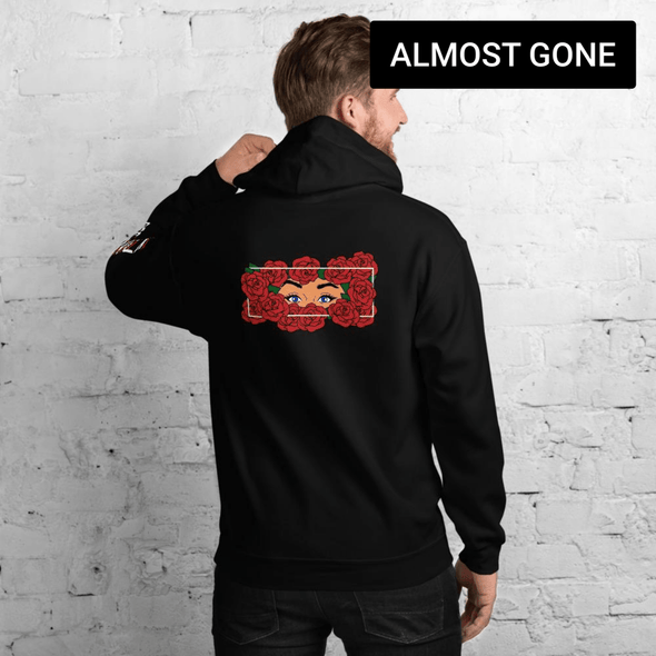 Roses back graphic hoodie dark