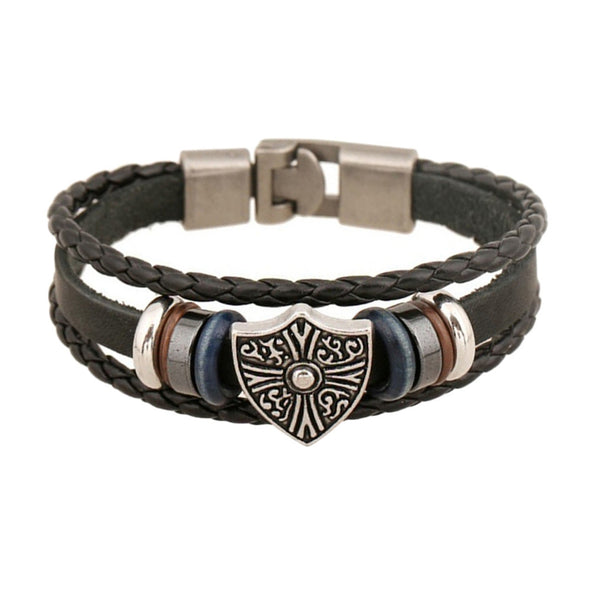 Tribal Shield Unisex Leather Bracelet