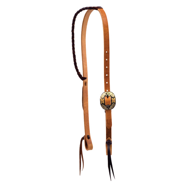 3/4'' Twisted & Tied Braided Ear Headstall With Silver Texas Buckle