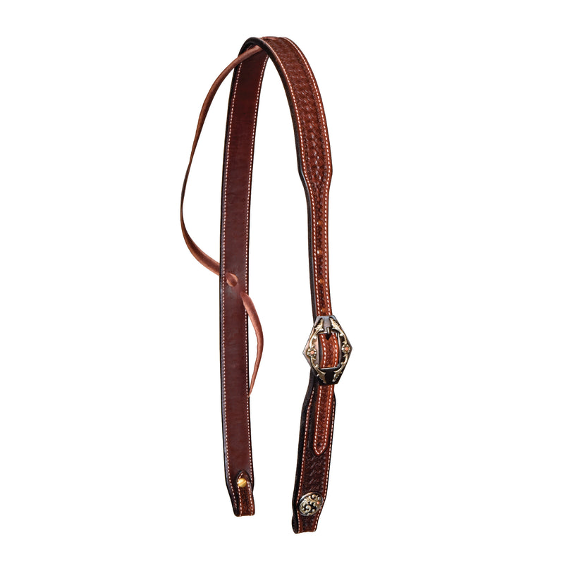 1-1/4'' Rosewood Spider Stamped Ear Headstall With Wyoming Buckle