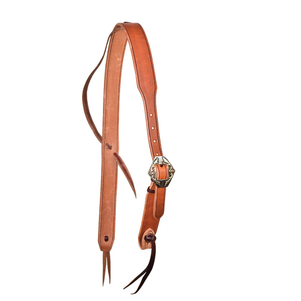 1-1/4'' Harness Cowboy Knot Ear Headstall With Silver Wyoming Buckle