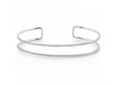 14K WHITE GOLD DOUBLE ROW CUFF BANGLE