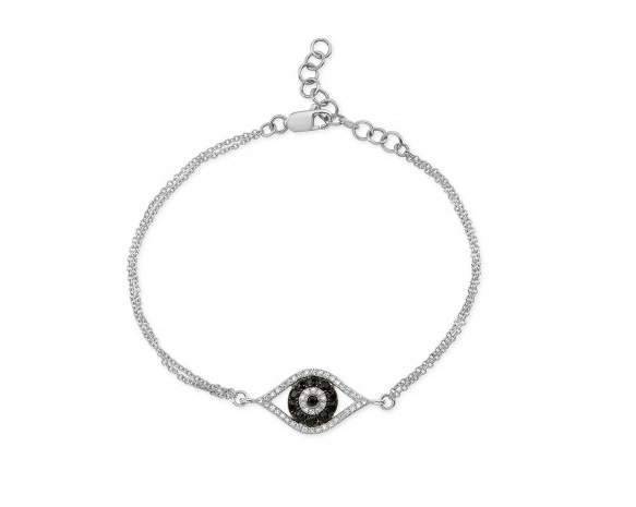 14K WHITE GOLD EVIL EYE BRACELET - Cabochon Fine Jewelry