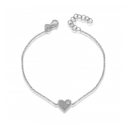 14K WHITE GOLD SOLID HEART BRACELET - Cabochon Fine Jewelry