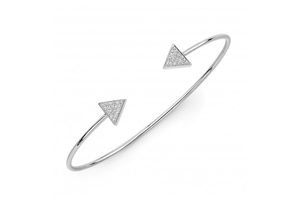 14K WHITE GOLD PAVE TRIANGLE CUFF BANGLE - Cabochon Fine Jewelry