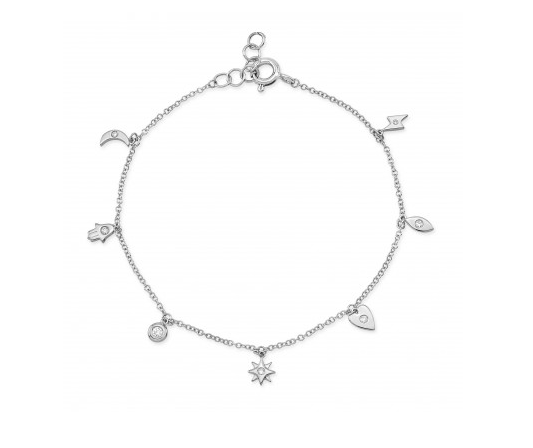 14K WHITE GOLD TINY CHARMS BRACELET - Cabochon Fine Jewelry