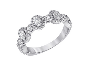 18K White Gold Oval Cut Halo Band