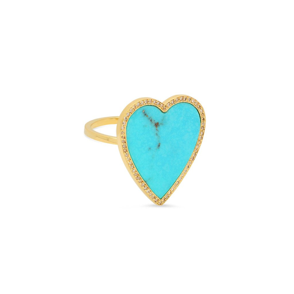 14 KT TURQUOISE INLAY LARGE HEART RING WITH DIAMONDS