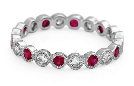 ROUND RUBY AND DIAMOND STACKABLE BAND - Cabochon Fine Jewelry