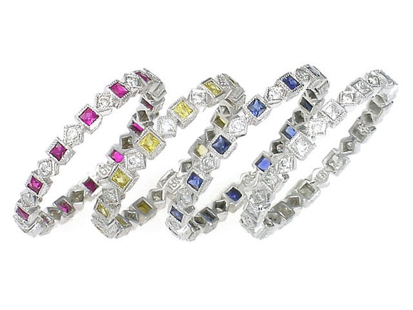 ART DECO STYLE SQUARE AND OVAL STACKABLE BANDS - Cabochon Fine Jewelry