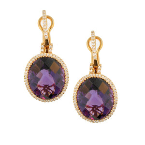 AMETHYST AND GOLD DIAMOND EARRINGS - Cabochon Fine Jewelry