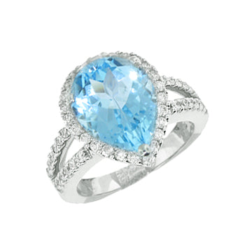 BLUE TOPAZ CABOCHON COLOR DIAMOND RING - Cabochon Fine Jewelry