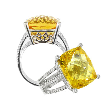 DIAMOND & CANARY CRYSTAL COCKTAIL RING - Cabochon Fine Jewelry