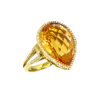 YELLOW STONE PEAR SHAPE DIAMOND RING - Cabochon Fine Jewelry