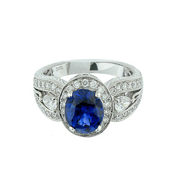 OVAL SAPPHIRE DIAMOND RING - Cabochon Fine Jewelry