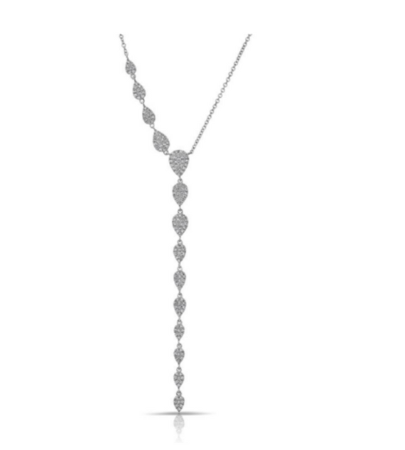 14KT DIAMOND PEAR DROPLETS LARIAT NECKLACE - Cabochon Fine Jewelry