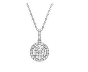 18KT DIAMOND HALO NECKLACE - Cabochon Fine Jewelry