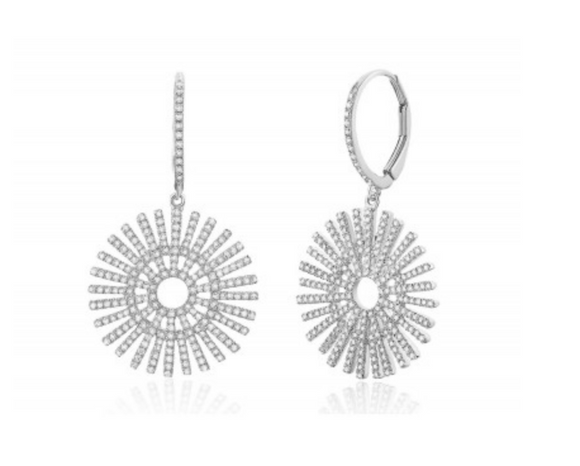 14KT DIAMOND SUNBEAM EARRING - Cabochon Fine Jewelry