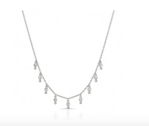 14KT DIAMOND BEZEL FRINGE NECKLACE - Cabochon Fine Jewelry