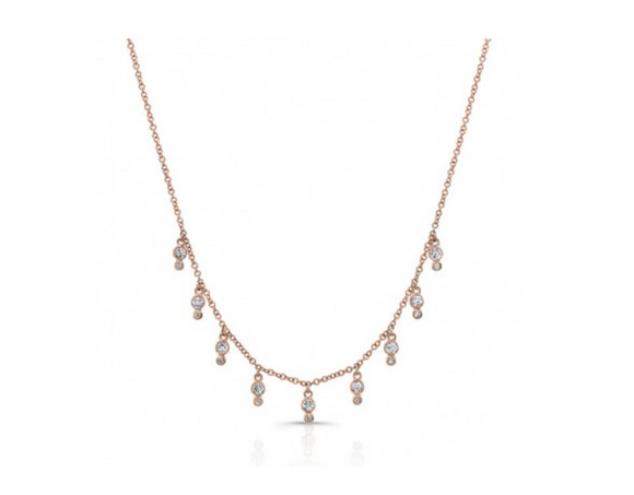 ROSE DIAMOND BEZEL FRINGE NECKLACE - Cabochon Fine Jewelry