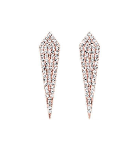 14KT ROSE GOLD DIAMOND SPEAR EARRINGS - Cabochon Fine Jewelry