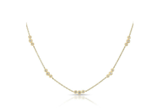 14KT GOLD BEZEL DIAMOND NECKLACE - Cabochon Fine Jewelry