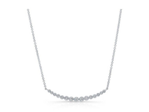 14KT WHITE GOLD DIAMOND CRESCENT BEZEL SET NECKLACE - Cabochon Fine Jewelry
