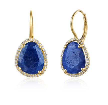 GOLD BLUE SAPPHIRE DIAMOND EUROWIRE EARRINGS - Cabochon Fine Jewelry