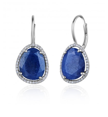 14KT BLUE SAPPHIRE DIAMOND EUROWIRE EARRINGS - Cabochon Fine Jewelry