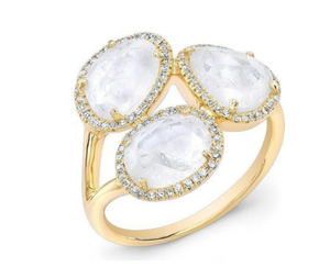 GOLD MOONSTONE DIAMOND RING - Cabochon Fine Jewelry