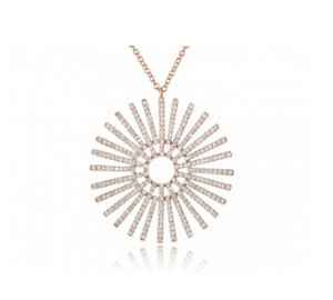 GOLD DIAMOND SUNBEAM NECKLACE - Cabochon Fine Jewelry