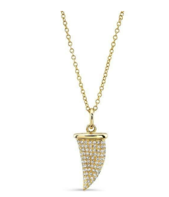 GOLD DIAMOND SHARK TOOTH NECKLACE - Cabochon Fine Jewelry